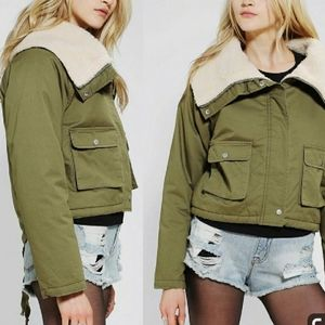 Unif X Up Army Green Cropped Sherpa Jacket
